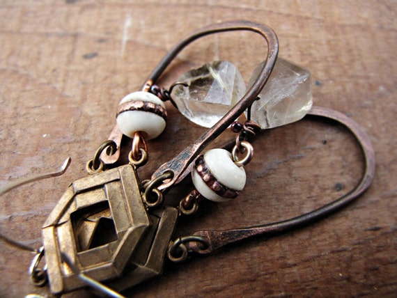 Himalaya - assemblage rustic earrings - rutilated quartz - tribal sci fi