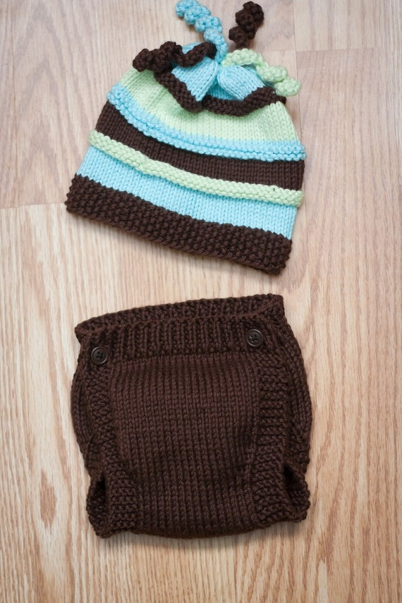 Newborn Beanie Knitting Pattern : Fun Striped Knitted Newborn Beanie and Diaper by ladyintraining