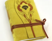 "Suede Yellow Journal - Handmade Diary - ""Precious"""