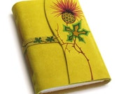 """Yellow Suede Journal - Handbound - Handpainted Colored Cover - """"Thistle"""""""
