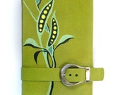 Green Garden Journal - Leather Cover Notebook - Spring Diary - Journal with Belt