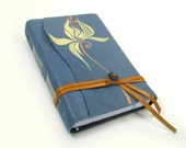Blue Leather Journal - Painted Blank Handmade Notebook - One of A Kind - Sunny Bloom