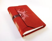 Sun Fire - Red Leather Journal - Suede Journal / Sketchbook