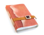 Chic Peach Leather Handbound Journal with Blank Paper - CHRISTMAS DISCOUNT SALE
