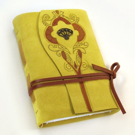 "Suede Yellow Journal - Handmade Diary - ""Precious"""