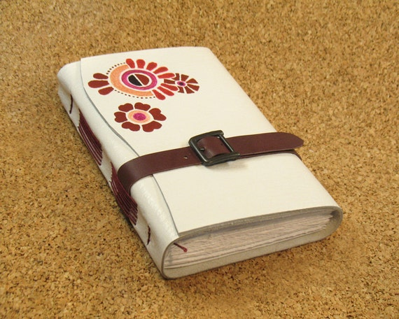 """White Journal - Leather painted Blank Book - """"Summer Joy"""""""