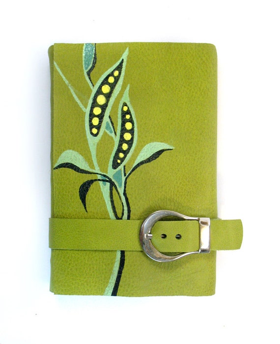 Green Garden Journal Leather Cover Notebook Spring by giromo
