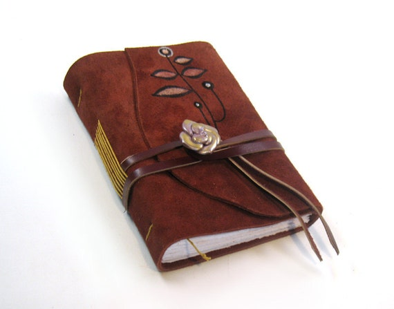 Suede Diary - Handmade Leather Journal - Burgundy Poem