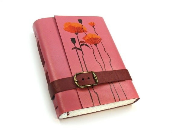 Pink Leather Notebook - Painted Handmade Journal with Hand Torn Paper - Gift for Her