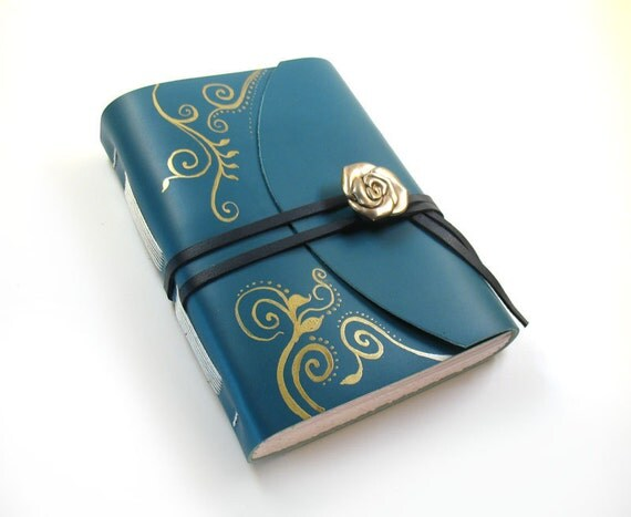 Royal Bloom - Leather Journal / Diary in Teal and Gold