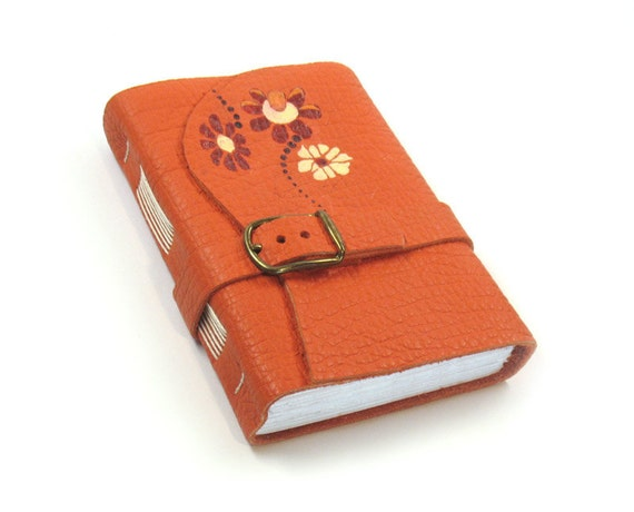 Orange Journal Handmade Leather Notebook - CHRISTMAS DISCOUNT SALE