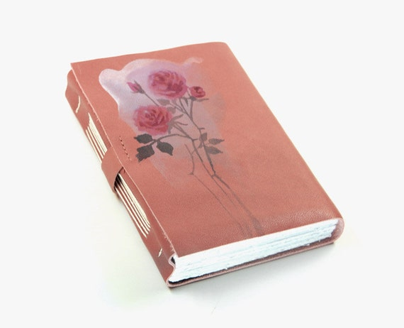 Romantic Poem - Leather Journal - Dusty Pink