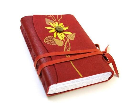 Red Leather Journal, Diary, Sketchbook - Flower in Bloom