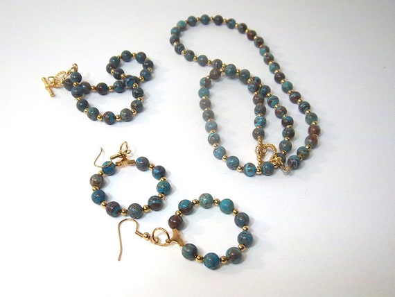 SAVE 25%-Blue Sky Jasper Necklace, Earring, and Bracelet Set