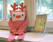Plush Reindeer - pink with flowers