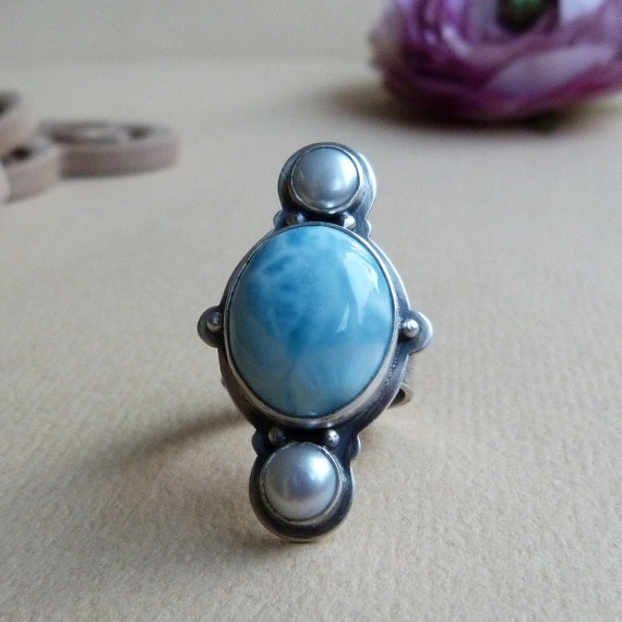 xX RESERVED Xx Larimar Ring with Freshwater Pearls in Oxidized Sterling Silver - Totem Ring