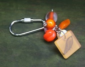 Orange You Glad - Beautiful beaded side screw keyring \/ keychain or purse charm