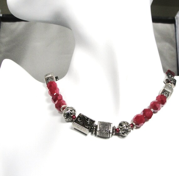 RESERVED FOR RONI  Red and Silver Beaded Necklace