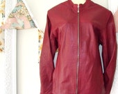 Rich Burgandy Australian Made Leather Jacket.
