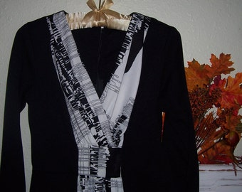 On Sale Vintage 60's Optical Illusion Slim Black and White Dress 32 inch bust