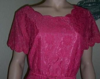 Plus Size Pink Lace Dress Vintage   Size 22 1/2 xxl