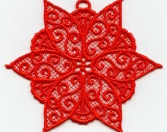 Red Poinsettia Lace Ornament