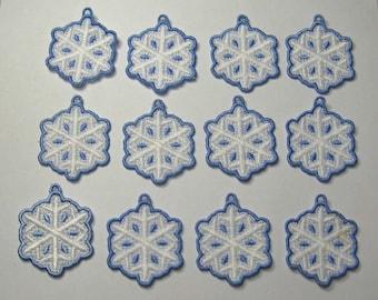 One Dozen Mini Snowflake Lace Ornaments
