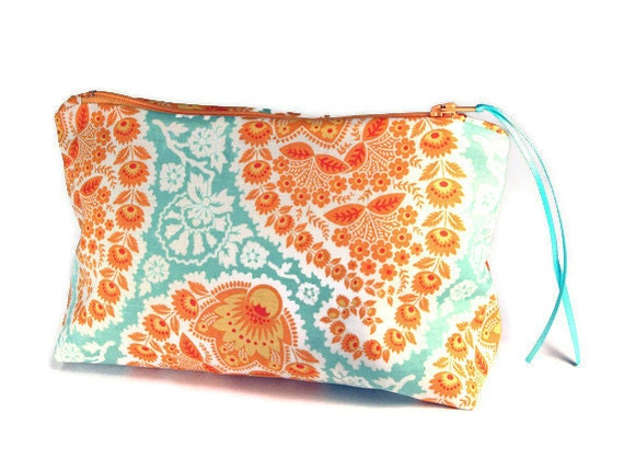 Bridesmaid Makeup Cosmetic Bag, Pencil Case, Zippered Pouch French Blue Yellow Orange