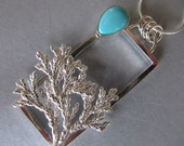 Framed Cypress and Turquoise Pedant in Sterling Silver