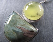 Prenite and Petrified Bogwood Pendant in Sterling Silver