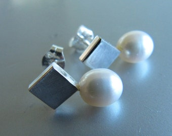 Everyday Post Earrings of Solid Sterling Silver and Pearls
