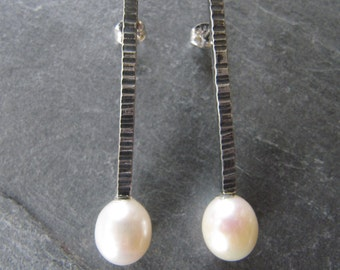 Hammered Silver with Pearl Earrings