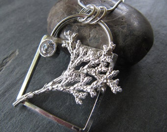 Cast Cypress and CZ in Sterling Silver Square Necklace
