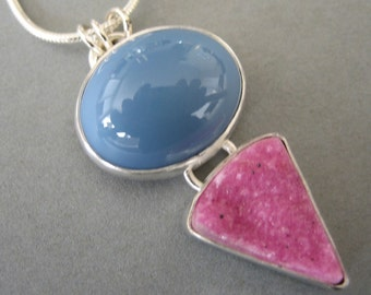 Oregon Blue Opal  and Pink Druzy Necklace in Sterling Silver Setting