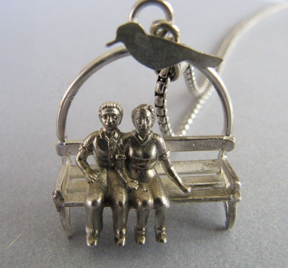 Reserved for Julia.  Park Bench with Bird Pendant in Sterling Silver