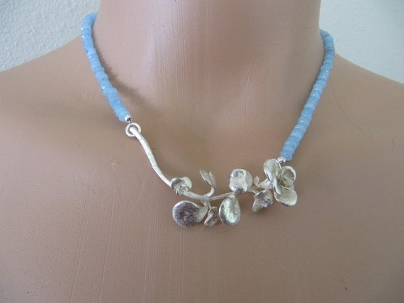 Aquamarine and Cast Sedum Necklace in Sterling Silver