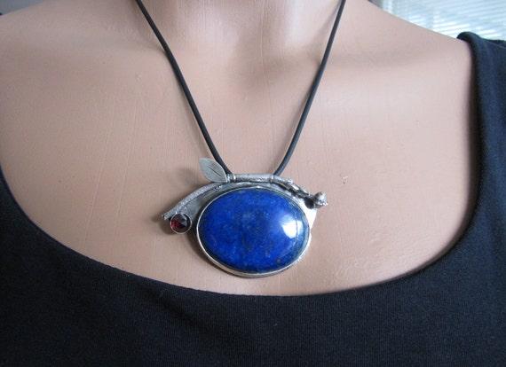 Lapis, Dogwood, Garnet Brooch/Necklace in Sterling Silver