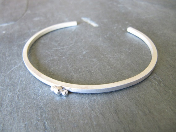Sterling Silver Cuff Bracelet with Recycled Dots