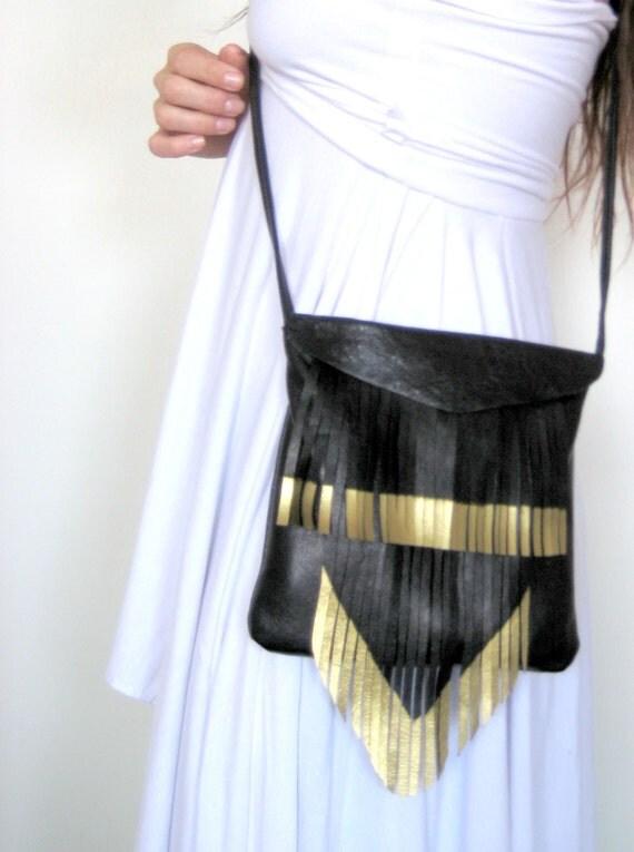 square gold tip fringe bag