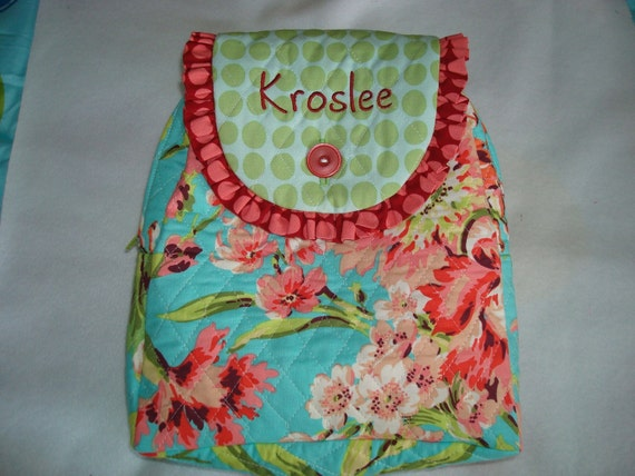 Child's Backpack in Amy Butler's Love Bliss with Sunspots trims. Available in small size only.