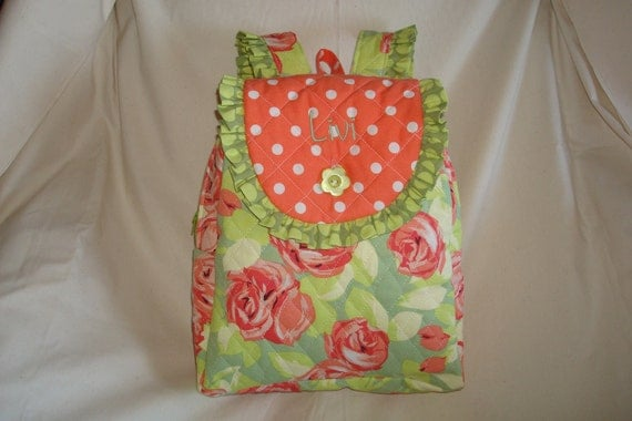Child's Backpack in Amy Butler's Tumbling Rose print with Sunspot Olive trim.