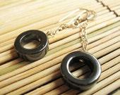 Hematite Rounds Dangle Earrings - Sterling Silver Gray Circle Earrings