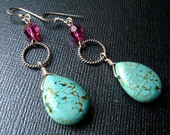 Turquoise Blue Howlite and Fuchsia Pink Dangle Crystal Sterling Silver Earrings