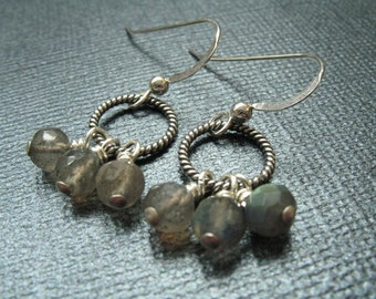 Labradorite Sterling Silver Earrings - Modern Gemstone Earrings