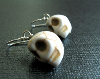 Howlite White Skull Earrings with Sterling Silver for Day of the Dead and Halloween - Morbid and Bone Goth Earrings