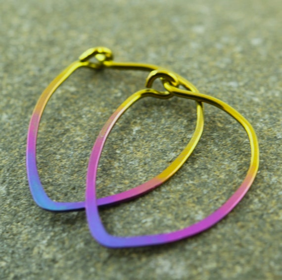 """Simple ombré hoop earrings, hand-anodized niobium hoops in gold/rose/violet fade, 0.75"""" - Sunset"""