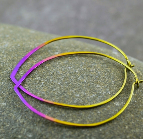 "Ombré hoop earrings, leaf hoops in bright gold/fuchsia/purple fade, 1.6"" hand-anodized niobium hoops - Sunset"