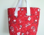 Sport Tote handmade in Wisconsin Badger fabric