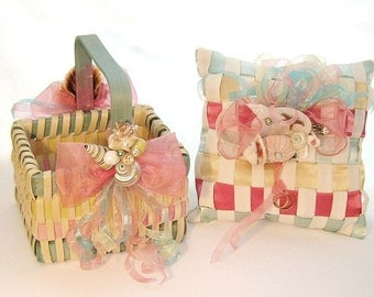 SALE, 50% Off, Last One, Flower Girl Basket & Ring Bearer Pillow Set, Seashells and Multi Color Woven Wicker and Satin