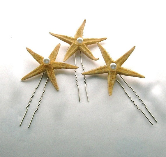 Starfish Hair Pins With a Pearl Center